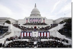 "A sea of onlookers witness the second swearing-in ceremony of President George W. Bush at the U.S. Capitol Jan. 20, 2005. ""From all of you, I have asked patience in the hard task of securing America, which you have granted in good measure,"" President Bush said. ""Our country has accepted obligations that are difficult to fulfill, and would be dishonorable to abandon. Yet because we have acted in the great liberating tradition of this nation, tens of millions have achieved their freedom.""  White House photo by Paul Morse"