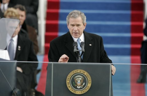 President George W. Bush delivers his second Inaugural address during the 55th Presidential Inauguration at the U.S. Capitol, Jan. 20, 2005. White House photo by Paul Morse