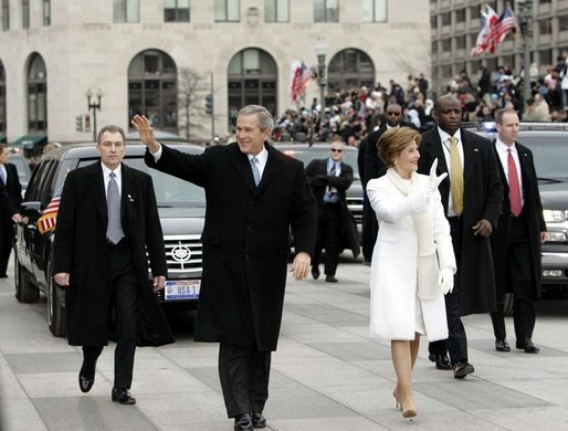 President george w bush and laura bush lead the inaugural for First president to be inaugurated on january 20