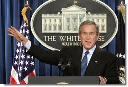President George W. Bush speaks during a press conference in the Brady Press Briefing Room at the White House, Wednesday, Jan. 26, 2005.  White House photo by Paul Morse