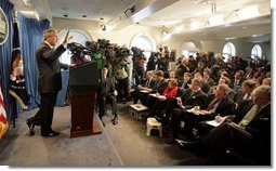 President George W. Bush answers questions from the media during a press conference in the Brady Press Briefing Room in the White House, Wednesday, Jan. 26, 2005.  White House photo by Eric Draper
