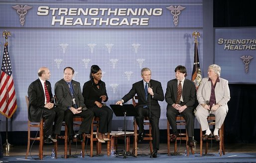 President George W. Bush takes part in a conversation about health care initiatives at the National Institutes of Health Wednesday, Jan. 26, 2005. White House photo by Paul Morse
