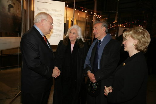 Nobel Peace Prize winner Elie Wiesel and his wife Marion Wiesel talk with Vice President Dick Cheney and his wife Lynne Cheney during a reception for holocaust survivors at the Galicia Jewish Museum in Krakow, Poland, Jan. 26, 2005. The Wiesel's, holocaust survivors themselves, were part of a United States delegation to Poland, led by Vice President Cheney to take part in ceremonies commemorating the 60th Anniversary of the liberation of the Auschwitz camps. White House photo by David Bohrer