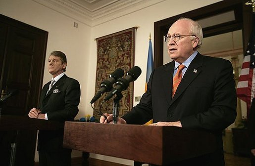 Vice President Dick Cheney and newly sworn-in Ukrainian President Viktor Yushchenko speak during a press availability after the two men met in Krakow, Poland, Wednesday, Jan. 26, 2005. Vice President Cheney leads a U.S. delegation to Poland to commemorate the 60th Anniversary of the Liberation of the Auschwitz-Birkenau Concentration Camp. White House photo by David Bohrer