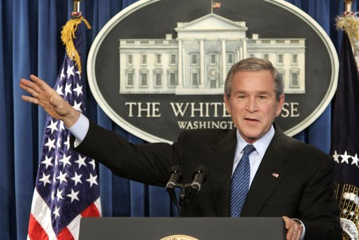 President George W. Bush speaks during a press conference in the Brady Press Briefing Room at the White House, Wednesday, Jan. 26, 2005. White House photo by Paul Morse.