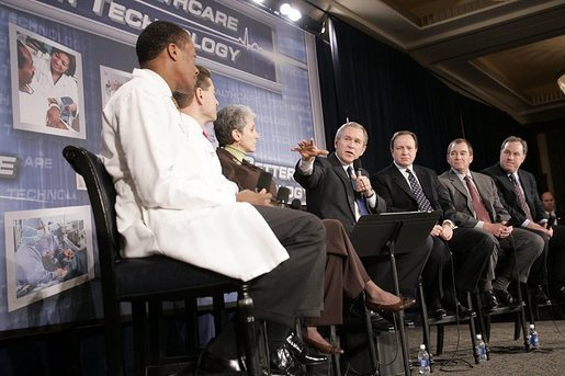 President George W. Bush participates in a conversation on the benefits of health care information technology at the Cleveland Clinic in Cleveland, Ohio, Thursday, Jan. 27, 2005. White House photo by Paul Morse