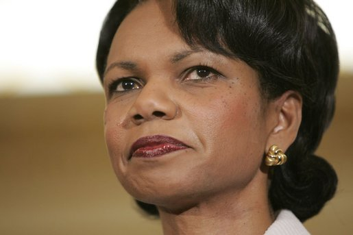 Dr. Condoleezza Rice takes the oath of office from Justice Ruth Bader Ginsburg Friday, Jan. 28, 2005, as she's ceremoniously sworn in as Secretary of State. White House photo by Eric Draper