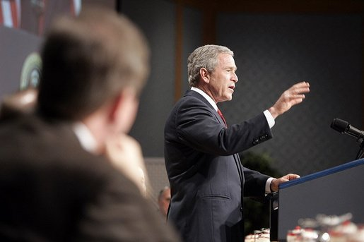 President George W. Bush talks to the House and Senate Republican Conference about his legislative priorities for the year during an annual republican congressional retreat in White Sulphur Springs, W.V., Friday, Jan. 28, 2005. White House photo by Paul Morse