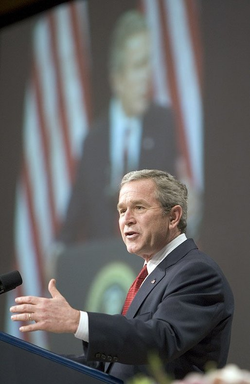 President George W. Bush speaks at the 2005 'Congress of Tomorrow' luncheon during the congressional retreat in White Sulphur Springs, W.V., Friday, Jan. 28, 2005. White House photo by Paul Morse