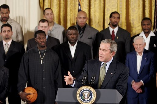 President George W. Bush congratulates the Detroit Pistons on winning the 2004 NBA Championship during a ceremony in the East Room of the White House, Monday, Jan. 31, 2005. White House photo by Paul Morse.