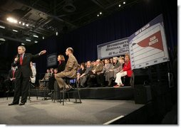 President George W. Bush leads a discussion on Social Security reform at North Dakota State University in Fargo, N.D., Thursday, Feb. 3, 2005.   White House photo by Eric Draper