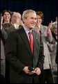 President George W. Bush receives a warm welcome from participants attending a Conversation on Social Security at North Dakota State University in Fargo, N.D., Thursday, Feb. 3, 2005. White House photo by Eric Draper