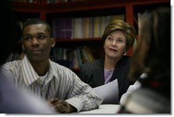 Laura Bush sits in on a Skills Mastery and Resistance Training (SMART Moves) discussion group for teens at the Germantown Boys and Girls Club Tuesday, Feb. 3, 2005 in Philadelphia, The program helps teens learn to develop decision-making skills to deal with drug and alcohol abuse and premature sexual activity.  White House photo by Susan Sterner