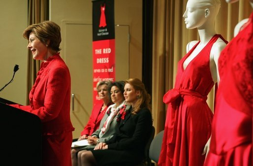 Laura Bush speaks bout heart disease concerns and awareness at The Heart Truth event- The Red Dress 2005 Preview at the Time Life Building in New York Friday, Feb. 4, 2005. Also on stage with Mrs Bush are Dr. Elizabeth Nabel, Director National Heart, Lung, and and Blood Institute, Dr. Anne Taylor and Duchess Sarah Ferguson. White House photo by Susan Sterner.