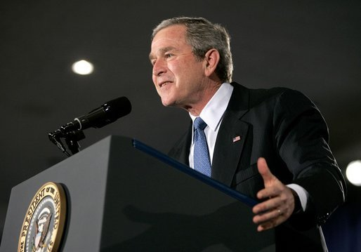 "President George W. Bush addresses the Detroit Economic Club in Detroit Tuesday, Feb. 8, 2005. ""We're moving forward with an ambitious agenda to ensure that our economy remains the freest, the most flexible, and the most prosperous in the world,"" said the President. White House photo by Eric Draper"