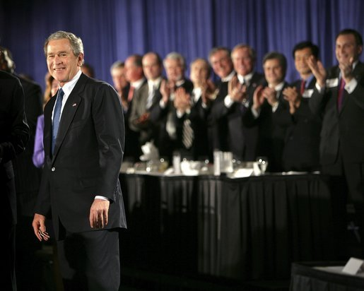 President George W. Bush receives applause during his introduction at the Detroit Economic Club in Detroit, Michigan, Tuesday, Feb. 8, 2005. White House photo by Eric Draper