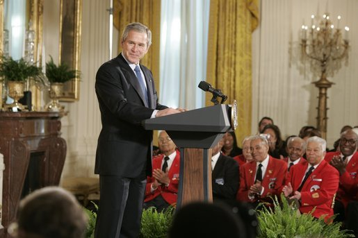 "President George W. Bush speaks during a ceremony honoring African American History Month Tuesday, Feb. 8, 2005. ""In the 1920s, Dr. Woodson argued that if African Americans were to take their rightful place in society, young Americans of all races needed to learn about the black contribution to our history and culture. So in 1926, he launched the first black history week. Today, a movement that began in black churches and schoolrooms is observed all across America -- including the White House. Welcome,"" said the President. White House photo by Paul Morse"