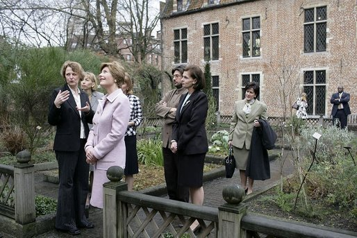 "Monday, Feb. 21, 2005, Laura Bush tours the Erasmus Museum located in the Brussels' home of the late Desiderius Erasmus, author of ""Moriae Encomium."" White House photo by Susan Sterner"
