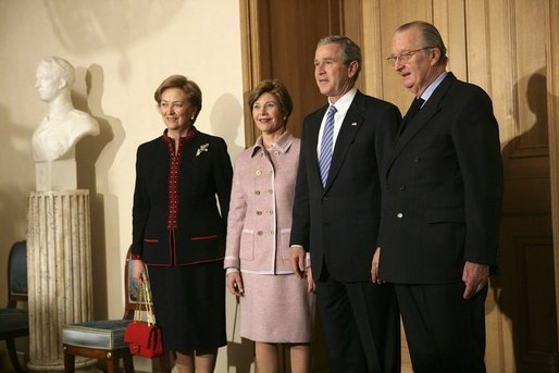 President George W. Bush and first lady Laura Bush are welcomed by King Albert II and Queen Paolo of Belgium at the palace office in Brussels, Monday, Feb. 21, 2005. White House photo by Eric Draper