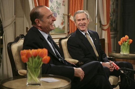 Attending the NATO Summit, President George W. Bush meets with French President Jacques Chirac in Brussels, Belgium, Monday, Feb. 21, 2005. White House photo by Eric Draper White House photo by Eric Draper.