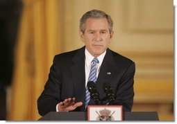 "President George W. Bush speaks at Concert Noble Ballroom in Brussels, Belgium, Monday, Feb. 21, 2005. ""Our greatest opportunity and immediate goal is peace in the Middle East. After many false starts, and dashed hopes, and stolen lives, a settlement of the conflict between Israelis and Palestinians is now within reach,"" said the President.  White House photo by Paul Morse"