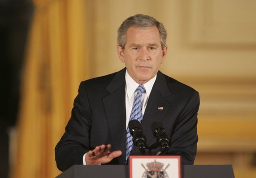 "President George W. Bush speaks at Concert Noble Ballroom in Brussels, Belgium, Monday, Feb. 21, 2005. ""Our greatest opportunity and immediate goal is peace in the Middle East. After many false starts, and dashed hopes, and stolen lives, a settlement of the conflict between Israelis and Palestinians is now within reach,"" said the President. White House photo by Paul Morse."
