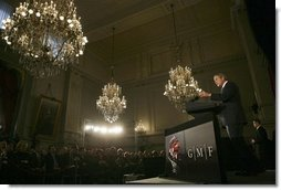 President George W. Bush delivers a foreign policy speech at the Concert Noble Ballroom, Brussels, Belgium, Monday, Feb. 21, 2005.  White House photo by Eric Draper