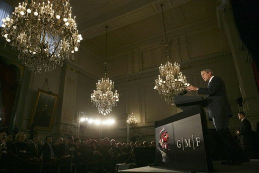 President George W. Bush delivers a foreign policy speech at the Concert Noble Ballroom, Brussels, Belgium, Monday, Feb. 21, 2005. White House photo by Eric Draper.