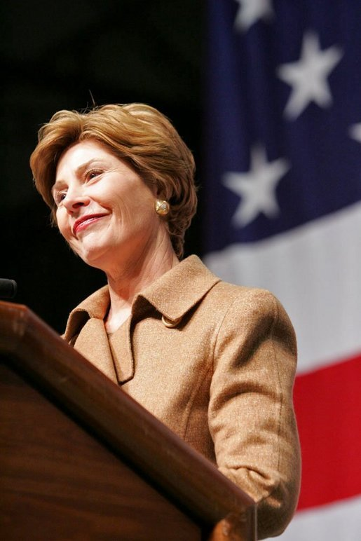 Laura Bush delivers remarks to U.S. soldiers and spouses during a visit to Ramstein Air Base Tuesday, Feb. 22, 2005 in Ramstein, Germany. Mrs. Bush thanked U.S. servicemen and women and the families that support them for their bravery and sacrifice. White House photo by Susan Sterner