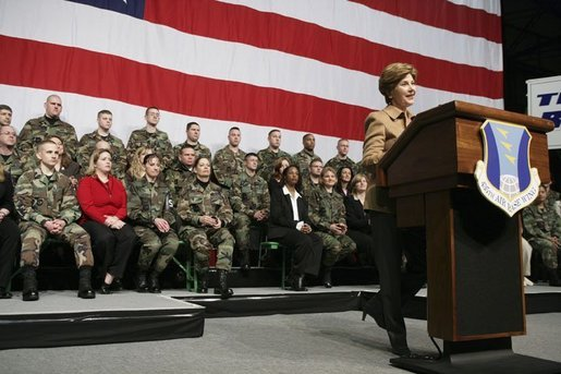 Laura Bush addresses U.S. soldiers and their spouses at Ramstein Airbase in Ramstein, Germany, Feb. 22, 2005. White House photo by Susan Sterner