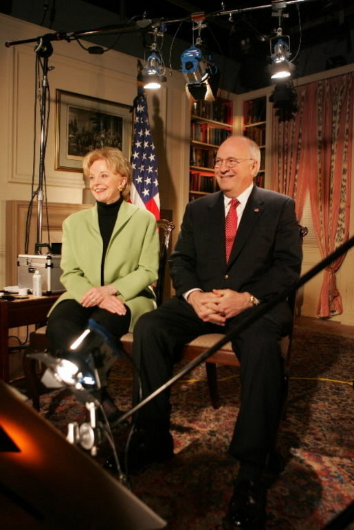 Vice President Dick Cheney and Lynne Cheney participate in an interview Feb. 22, 2005. White House photo by David Bohrer