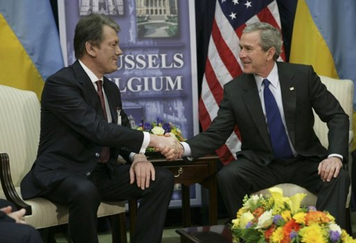 President George W. Bush hosts a bilateral meeting with Ukraine President Viktor Yushchenko in Brussels, Belgium, Tuesday, Feb. 22, 2005. White House photo by Eric Draper.