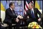 President George W. Bush hosts a bilateral meeting with Ukraine President Viktor Yushchenko in Brussels, Belgium, Tuesday, Feb. 22, 2005. White House photo by Eric Draper