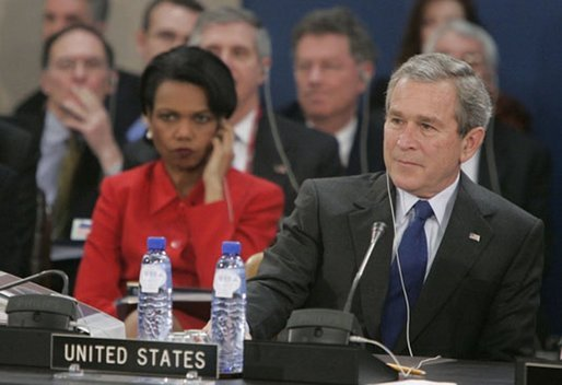 Secretary of State Condoleezza Rice and President George W. Bush attend the NATO summit in Brussels, Belgium, Tuesday Feb. 22, 2005. White House photo by Eric Draper.