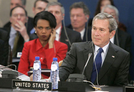 Secretary of State Condoleezza Rice and President George W. Bush attend the NATO summit in Brussels, Belgium, Tuesday, Feb. 22, 2005. White House photo by Eric Draper