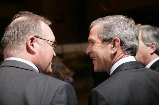 President George W. Bush shares a light moment with Sweden's Prime Minister Goeran Persson Tuesday, Feb. 22, 2005, during European Summit talks in Brussels. White House photo by Eric Draper