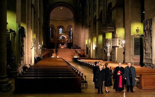 Laura Bush and Mrs. Schroeder-Koepf tour Saint Martin's Cathedral in Mainz, Germany, Feb. 23, 2005. White House photo by Susan Sterner