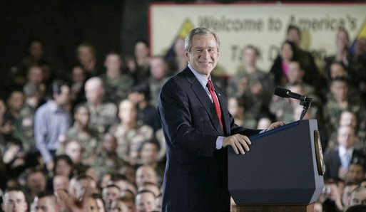 President Bush smiles broadly while addressing troops Wednesday, Feb. 24, 2005, at Wiesbaden Army Air Field in Wiesbaden, Germany. White House photo by Paul Morse