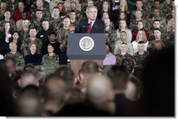 President George W. Bush delivers remarks to U.S. Troops at Wiesbaden Army Air Field in Wiesbaden, Germany, Wednesday, Feb. 23, 2005.   White House photo by Paul Morse