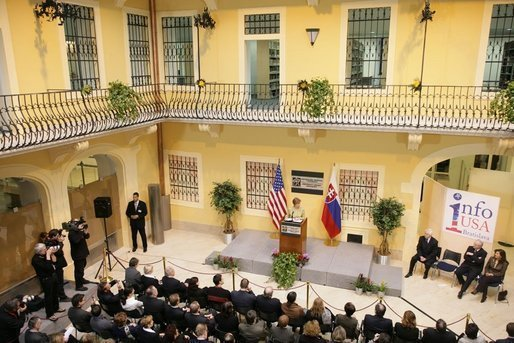 "Laura Bush delivers remarks during the opening of ""Info USA"" at the University Library in Bratislava, Slovak Republic, Thursday, Feb. 24, 2005. White House photo by Susan Sterner"
