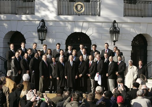 "President George W. Bush hosts a visit by the Boston Red Sox, the 2004 World Series champions, Wednesday, March 02, 2005. ""You know, the last time the Red Sox were here, Woodrow Wilson lived here. There were only 16 teams in baseball then. After the World Series victory in 1918, a reporter from Boston said, ""The luckiest baseball spot on Earth is Boston, for it has never lost a World Series."" That's one optimistic writer,"" said the President. White House photo by Paul Morse"