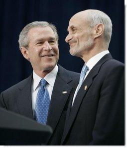 President George W. Bush stands with Michael Chertoff, the new Secretary of Homeland Security, during Chertoff's swearing-in ceremony Thursday, Mar. 3, 2005, at the Ronald Reagan Building and International Trade Center in Washington, D.C.  White House photo by Paul Morse