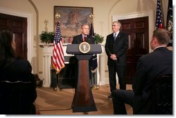 "President George W. Bush announces Stephen Johnson as his nominee for EPA Administrator in the Roosevelt Room at the White House Friday, March 4, 2005. ""I'm proud to ask him to become the first career EPA employee to hold the office of Administrator, and I'm glad he's agreed to do so,"" said the President.  White House photo by David Bohrer"