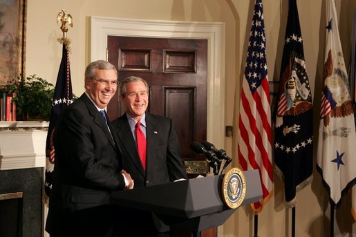 "President George W. Bush announces Stephen Johnson as his nominee for EPA Administrator in the Roosevelt Room at the White House Friday, March 4, 2005. ""He has 24 years of experience at the EPA, spanning all four decades of the agency's history,"" said the President. White House photo by David Bohrer"