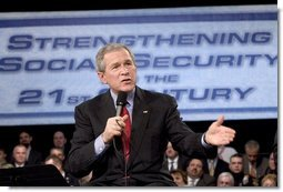 President George W. Bush discusses Social Security in Westfield, N.J., Friday, March 4, 2005.  White House photo by Paul Morse