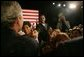 President George W. Bush greets the audience at the Community College of Allegheny County in Pittsburgh Monday, March 7, 2005. White House photo by Susan Sterner