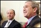 President George W. Bush and Romanian President Traian Basescu address the press in the Oval Office Wednesday, March 9, 2005. White House photo by Paul Morse