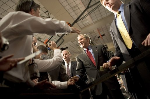 President George W. Bush greets the crowd at Auburn University at Montgomery in Montgomery, Alabama after talking about Social Security reform on Thursday March 10, 2005. White House photo by Paul Morse