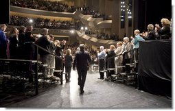 President George W. Bush receives a warm welcome at the Kentucky Center for the Performing Arts in Louisville, Ky., where he kicks off a two-day trip to promote his plan to reform Social Security Thursday, March 10, 2005.  White House photo by Paul Morse