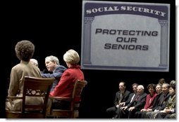 President George W. Bush participates in a conversation on strengthening Social Security at the Cannon Center for the Performing Arts in Memphis, Tenn., Friday, March 11, 2005.  White House photo by Paul Morse